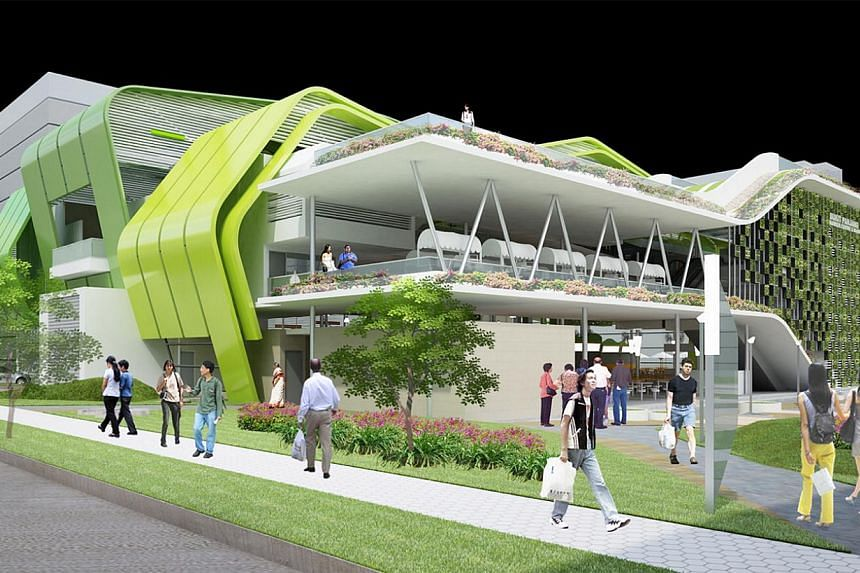 Artist's impression of the upcoming Bukit Panjang Hawker Centre and Market, which will be located near Al-Iman Mosque and Block 259 in Bukit Panjang Road. -- ST PHOTO: HDB