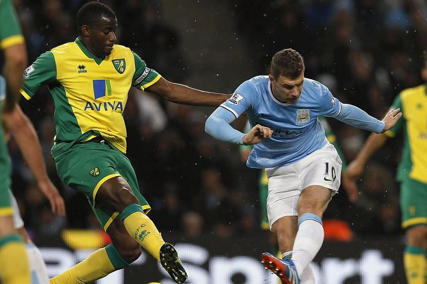 Manchester City's Edin Dzeko (right) shoots to score his side's seventh goal during their English Premier League soccer match against Norwich City at the Etihad Stadium in Manchester, northern England on Nov 2, 2013. -- PHOTO: REUTERS