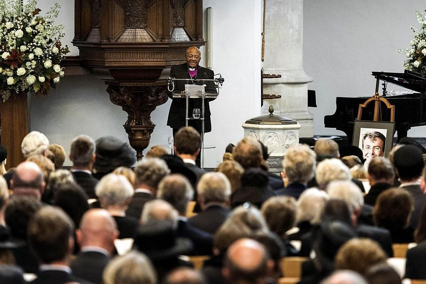 South African archbishop Desmond Tutu delivers a speech during the memorial of late Dutch Prince Friso on Nov 2, 2013, at the Old Church in Delft. Prince Friso, the younger brother of King Willem-Alexander, died at the age of 44 on Aug 12, 2013 after