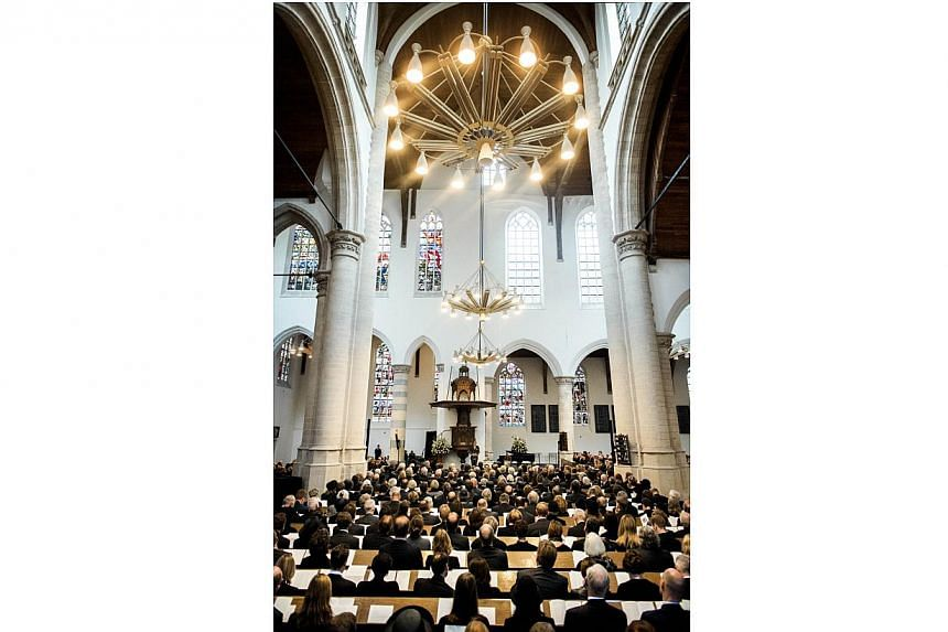 Dutch King Willem-Alexander delivers a speech during the memorial of late Dutch Prince Friso on Nov 2, 2013, at the Old Church in Delft. Prince Friso, the younger brother of King Willem-Alexander, died at the age of 44 on Aug 12, 2013 after 18 months