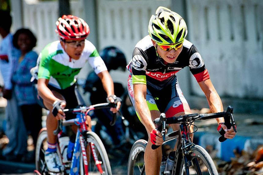 OCBC Singapore Pro Cycling Team rider Goh Choon Huat competes in Stage 1 of Banyuwangi Tour de Ijen on Saturday in Banyuwangi, Indonesia. Goh continued his fine form at the Banyuwangi Tour de Ijen in Indonesia on Sunday, Nov 3, 2013, with a fifth-pla