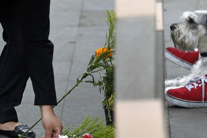 A woman puts floA woman puts flowers on her dog's grave at the pet cemetery in Corregidora, State of Queretaro, Mexico on Nov 1, 2013, the day before the commemoration of the Day of the Dead. -- PHOTO: AFPwers next to a fake headstone and a dog durin