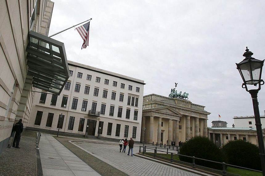 The entrance to the US embassy is pictured in Berlin on Oct 25, 2013. Germany and the United States are to strike a two-way deal not to spy on each other in the wake of the diplomatic furore sparked by the Edward Snowden revelations, a German newspap