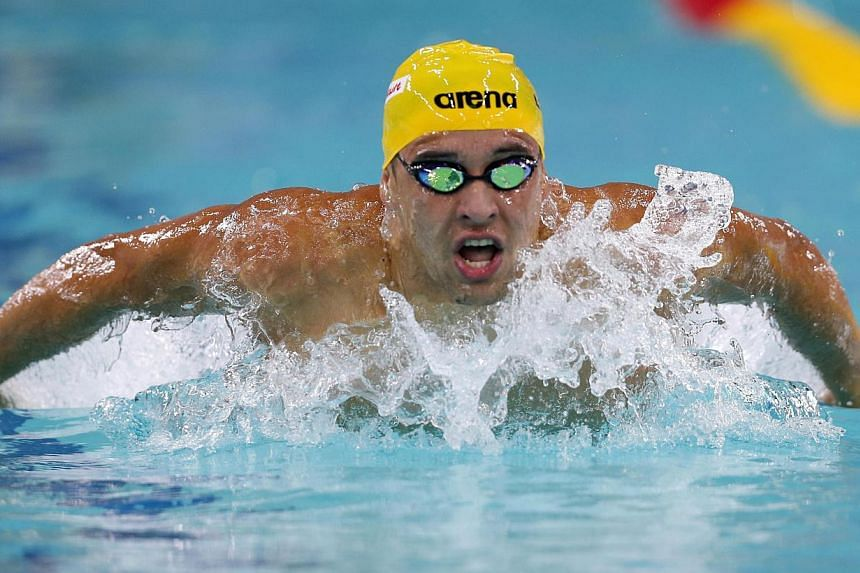 Olympic champion Chad le Clos (above) has arrived in Singapore ahead of Tuesday's Fina Swimming World Cup at the Singapore Sports School. -- FILE PHOTO: REUTERS