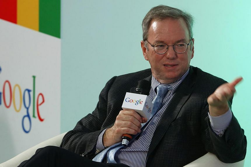 Google executive chairman Eric Schmidt (above) said reports that the US government spied on the Internet giant's data centres were outrageous and potentially illegal if proved true, in an interview on Monday, Nov 4, 2013. -- PHOTO: AP