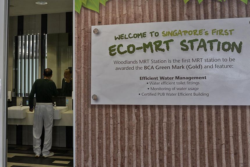 The new eco-friendly toilet at the Woodlands Xchange features efficient water management and fittings.-- ST PHOTO: DESMOND FOO