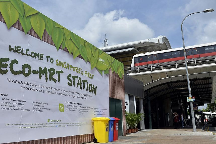 Woodlands MRT station was unveiled as Singapore's first eco-friendly train stop by National Development Minister Khaw Boon Wan, an MP for Sembawang GRC, on Monday morning.-- ST PHOTO: DESMOND FOO