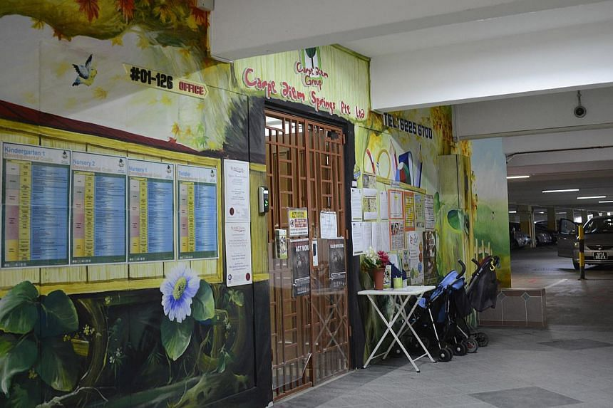 Childcare centre Carpe Diem Springs located in an HDB multi-storey carpark in Spottiswoode Park Road. The website of pre-school chain Carpe Diem was hacked by someone who signed off as Dowen on Sunday. -- ST FILE PHOTO: CHERYL FAITH WEE
