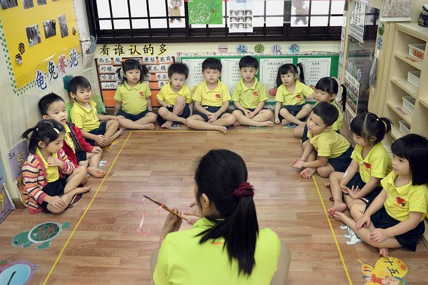 To improve the quality and affordability of pre-school programmes, tender bids put in by child care and kindergarten operators for state-owned properties will be evaluated differently from November onwards. -- ST FILE PHOTO:LIM SIN THAI