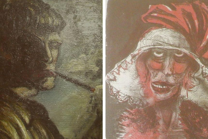 A combination of two formerly unknown paintings by German artist Otto Dix are beamed to a wall on Tuesday, Nov 5, 2013, in an Augsburg courtroom during a news conference held by state prosecutor Reinhard Nemetz and expert art historian Meike Hoffmann