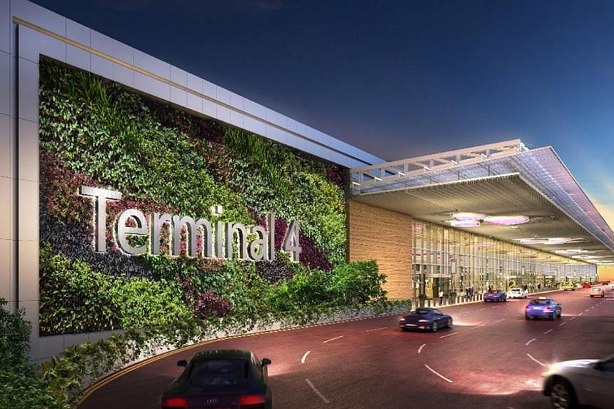 An artist's impression of the driveway to the departure kerbside of Terminal 4 at Changi Airport. -- PHOTO: CAG