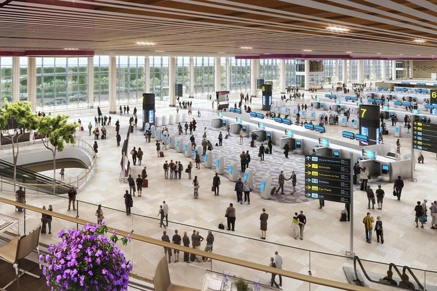 An artist's impression of self-service check-in kiosks and bag-drops in Changi Airport Terminal 4.Work has started on Changi Airport's Terminal 4, which opens in 2017. The new facility, which is being built where the Budget Terminal was, will b
