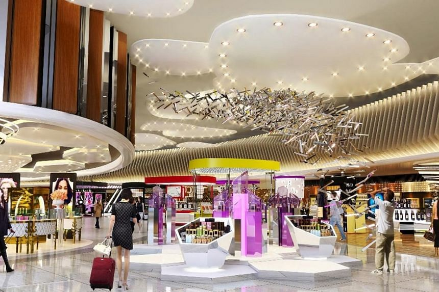 An artist's impression of the walk-through retail in the Departure Transit Lounge of Changi Airport's Terminal 4. -- PHOTO: CAG