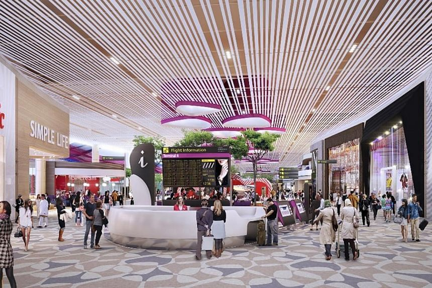 An artist's impression of the retail zone inthe Departure Transit Lounge of Changi Airport's Terminal 4. -- PHOTO: CAG
