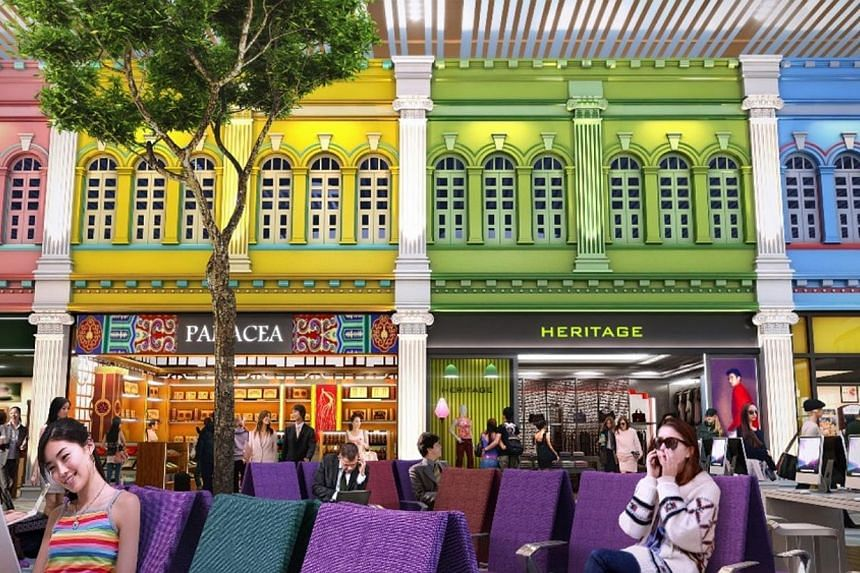 An artist's impression of the unique cultural shop fronts inthe Departure Transit Lounge of Changi Airport's Terminal 4. -- PHOTO: CAG