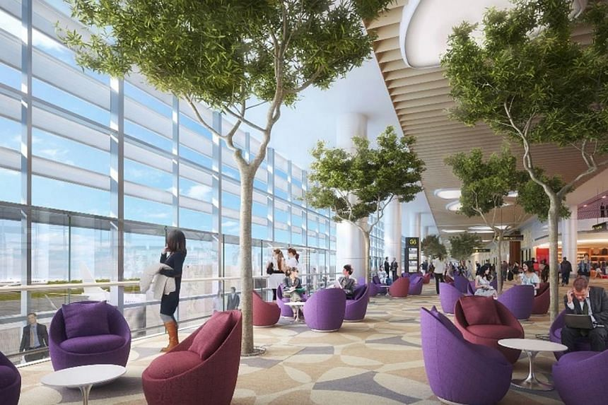 An artist's impression of the Departure Boarding Pier inChangi Airport's Terminal 4. -- PHOTO: CAG