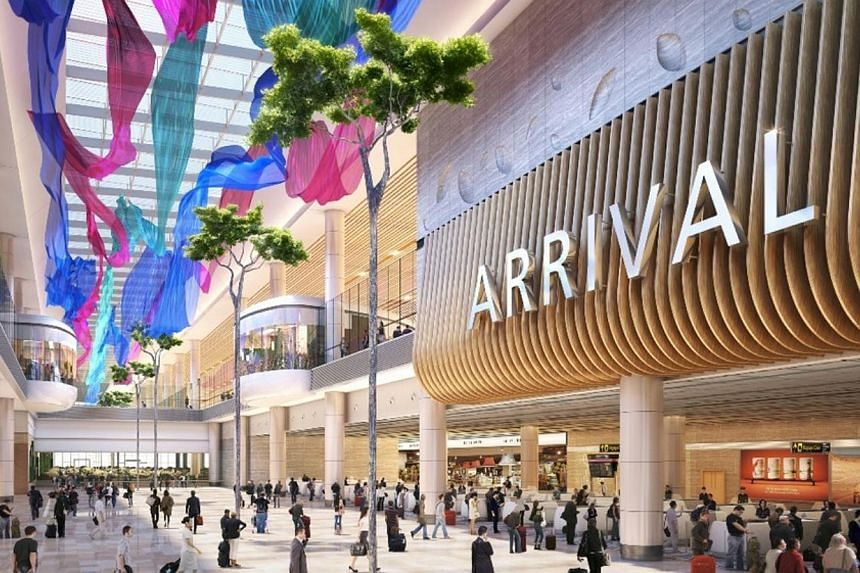 An artist's impression of the Arrival Hall inChangi Airport's Terminal 4. -- PHOTO: CAG