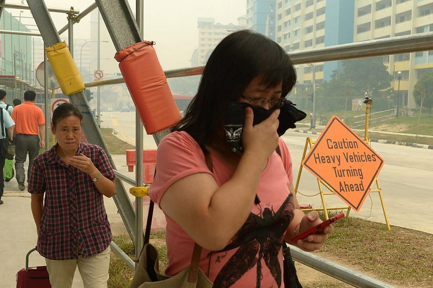 """A woman covering herself during hazy conditions in June. The NEA hopes to give """"a better picture"""" of PM2.5 levels across a wider area."""