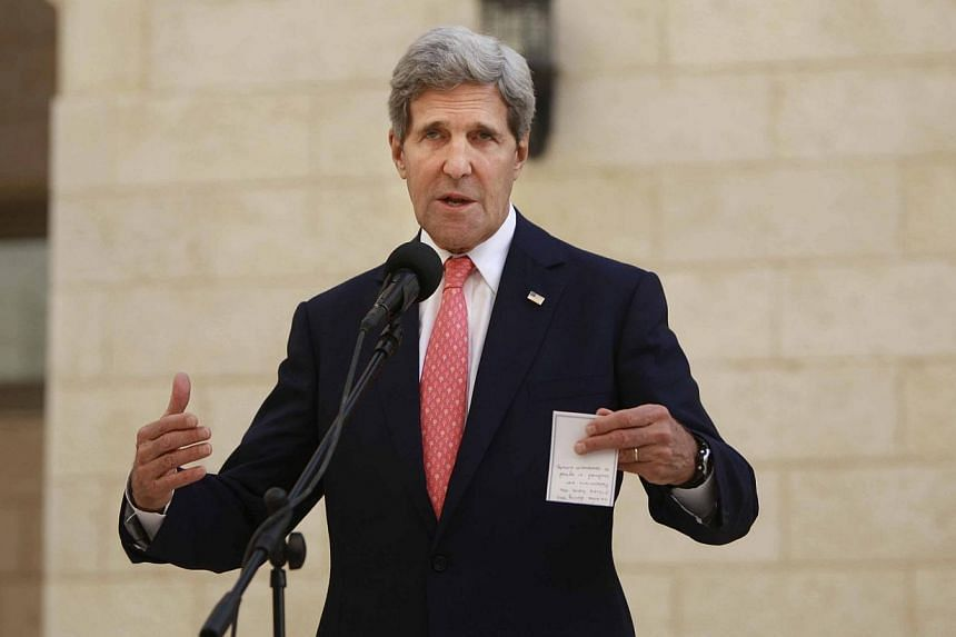 "United States Secretary of State John Kerry (above) reaffirmed on Wednesday, Nov 6, 2013, Washington's rejection of Israeli settlement activity in the occupied Palestinian territories as ""illegitimate"". -- PHOTO: AP"