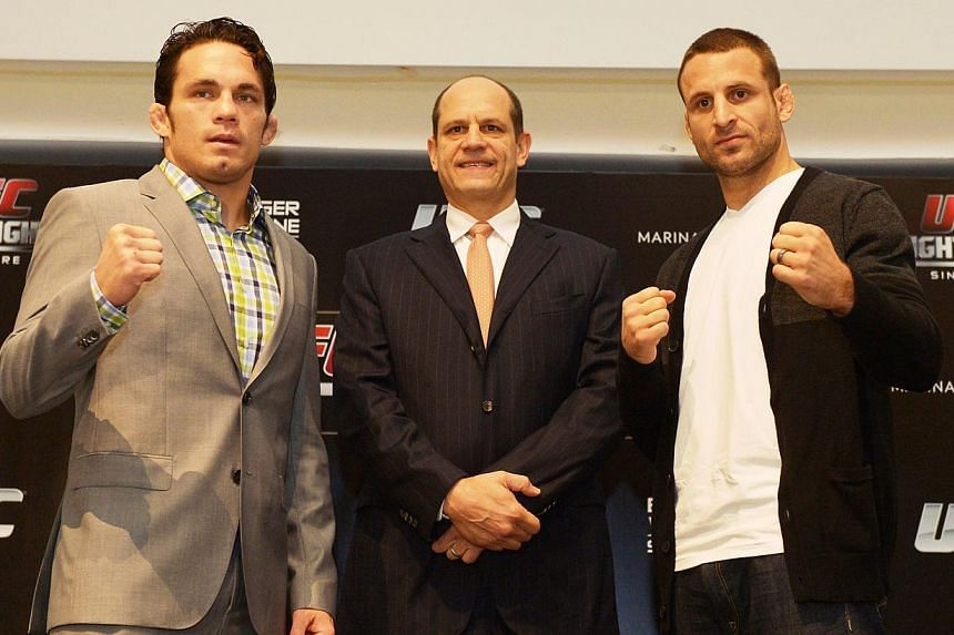 The Ultimate Fighting Championship will make its Singapore debut with 10 bouts, the highlight of which will be a showdown between Belgian Tarec Saffiedine and American Jake Ellenberger. -- ST PHOTO: ALPHONSUS CHERN