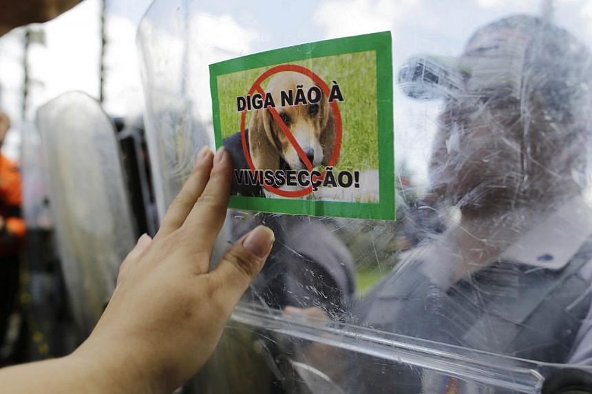 """A demonstrator places a sticker of a dog that reads in Portuguese """"Say no to vivisection!"""" on the shield of a police officer standing guard outside the Instituto Royal laboratory during a protest against drug testing on animals in Sao Roque, Brazil,"""