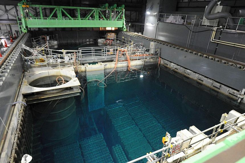 The spent fuel pool inside the No. 4 reactor building at the Tokyo Electric Power Co's (Tepco) Fukushima Daiichi nuclear power plant in Fukushima prefecture, in this photo released by Kyodo Nov 6, 2013. Tepco will this month begin taking out fuel rod