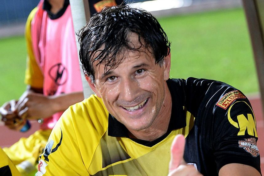 Aleksandar Duric (above), the 43-year-old striker who helped Tampines Rovers win the title this season, is nominated as the campaign's best player. -- TNP FILE PHOTO: CHOO CHWEE HUA