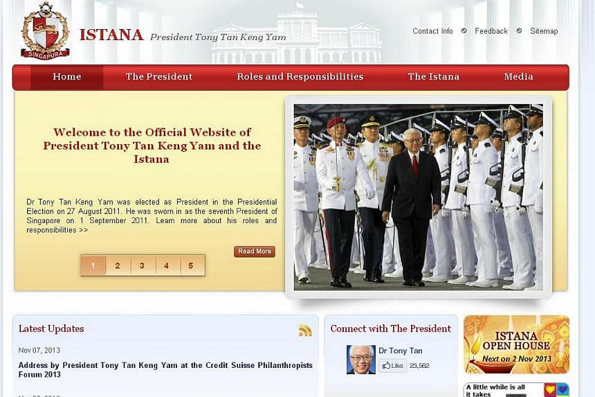 The home page of the Istana website.A page on the Istana website was compromised early Friday morning, shortly after a page on the Prime Minister's Office (PMO) website was also hacked. -- SCREENGRAB: ISTANA.GOV.SG