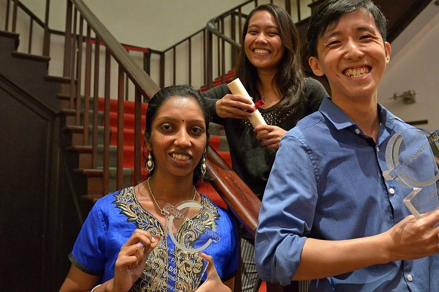 (From left) Tamil short story category winner Gayathiri Ilango, NJC student Aisyah Lyana, who got an honourable mention for her Malay short story, and Mr Tang Jui Piow, who topped the Chinese poetry category.