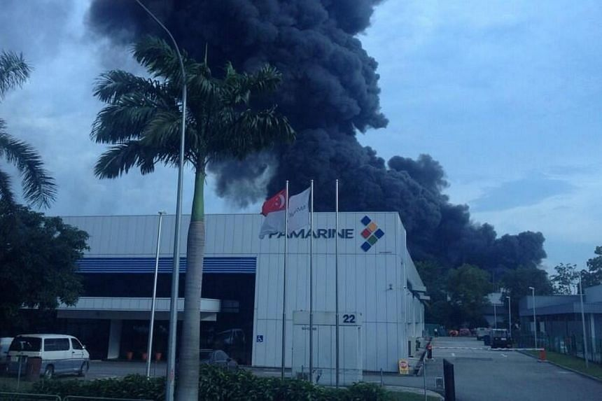 A fire broke out at an industrial building in Tuas on Friday evening. Pictures provided by Straits Times readers in the vicinity showed thick plumes of black smoke from the building.-- PHOTO: TWITTER OF @PLUMADDICTUZ