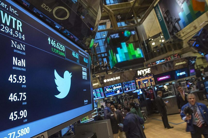 The Twitter logo is displayed on the floor of the New York Stock Exchange, Nov 8, 2013. Twitter shares retreated on Friday a day after a sizzling debut on Wall Street, as some of the frenzy about the popular messaging service faded. - PHOTO: REU