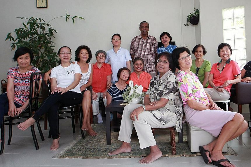 Standing: Ms Chan Wai Lin, 55, Mr V. Sreetharan, 74, and Ms Jacqui Oehlers, 63. Sitting, from left: Mrs Lam Lee Yin, 59, Mrs Maureen Ooi, 57, Mrs Rita Wee, 63, Ms Amy Tan, 64, Mrs May Chan, 65, Ms Kandha Ruby, 64, Dr Ambika Dharan, 64, , Ms Mabe