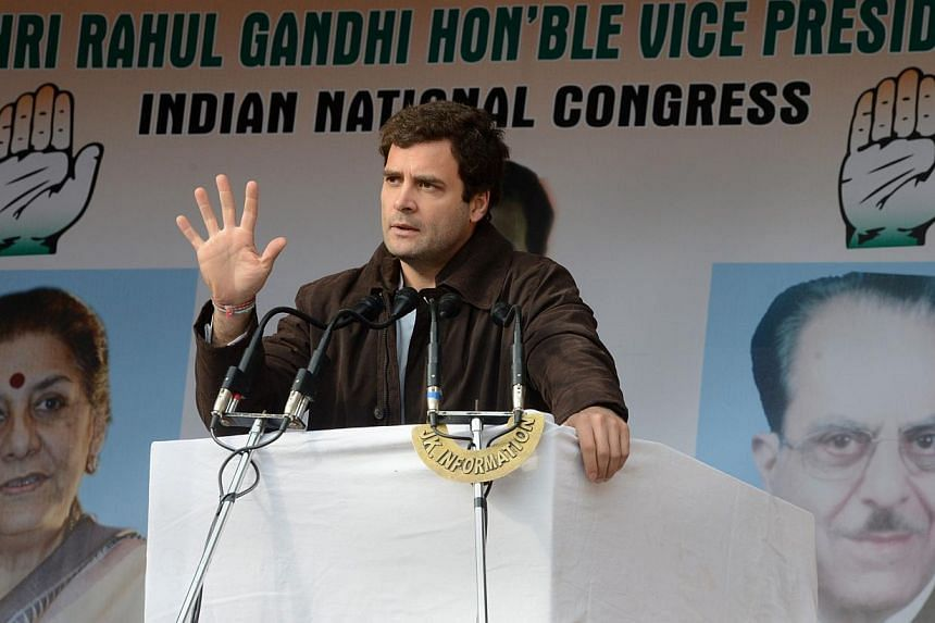 Congress Party Vice-President Rahul Gandhi gestures as he addresses Congress supporters at the party's headquarters in Srinagar, on Nov 7, 2013. Trailing in opinion polls and stunned by the rise of opposition leader Narendra Modi, India's ruling Cong