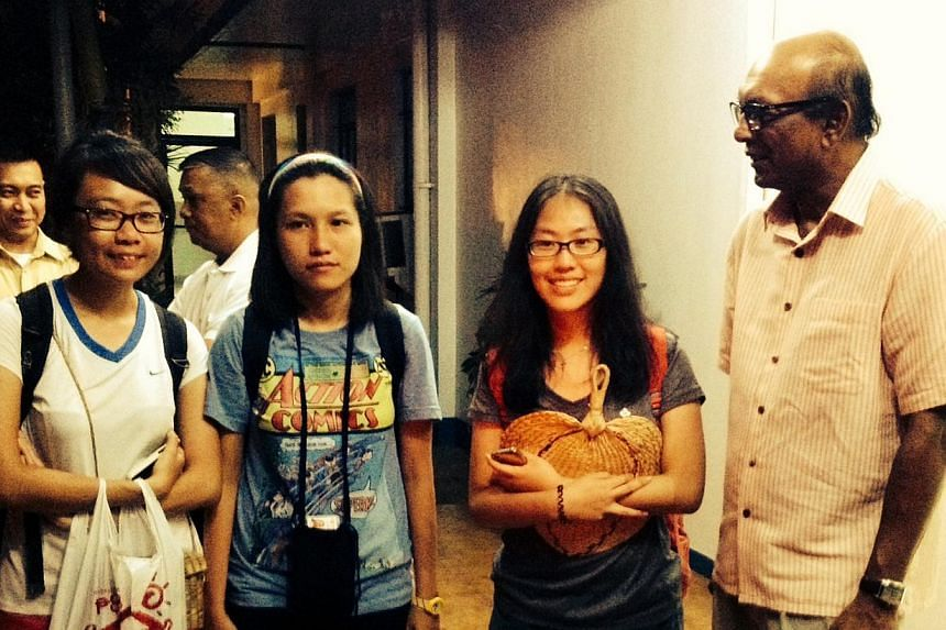 Singapore's Ambassador to the Philippines, Mr Hirubalan V P (right), met the Singaporeans (from left), Eileen Heng, Alyssa Chee and Vanessa Chong, at the headquarters of Villamor airbase, Manila.The Ministry of Foreign Affairs confirmed in a st