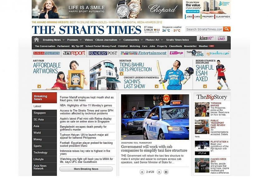 Some users had difficulty accessing The Straits Times' website, as well as other Singapore Press Holdings (SPH) sites, on Tuesday, Nov 12, 2013. -- PHOTO: SCREENGRAB OF THE STRAITS TIMES WEBSITE