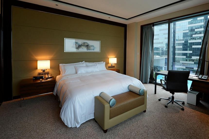 A room in The Westin Singapore. -- ST PHOTO: CAROLINE CHIA