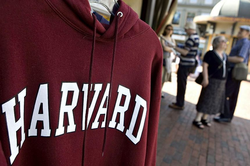 A Harvard University logo appears on a sweatshirt on display in Harvard Square in Cambridge, Massachusetts, on Sept 4, 2009. More than 800,000 international students studied at United States colleges and universities last year, a record high fue