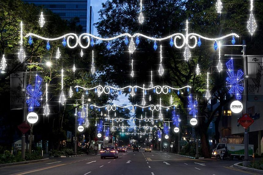 An artist's impression of the Christmas light-up along Orchard Road this year. The light-up, stretching from Tanglin Mall to Plaza Singapura, will start at 6.30pm this year instead of the usual 7pm.