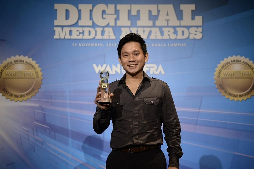 Mr Kenneth Tan, webknowledgist from Stomp,at the 2013 Asian Digital Media Awards on Wednesday, Nov 13, 2013. -- PHOTO:COURTESY OF WAN-IFRA