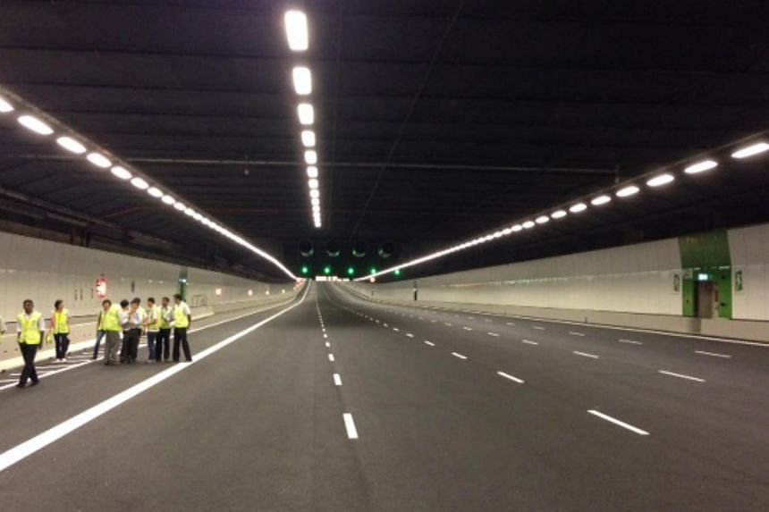 Sneak peek at Singapore's first undersea road tunnel at the Marina Coastal Expressway, slated to open on Dec 29, 2013. -- ST PHOTO: LEE JIAN XUAN