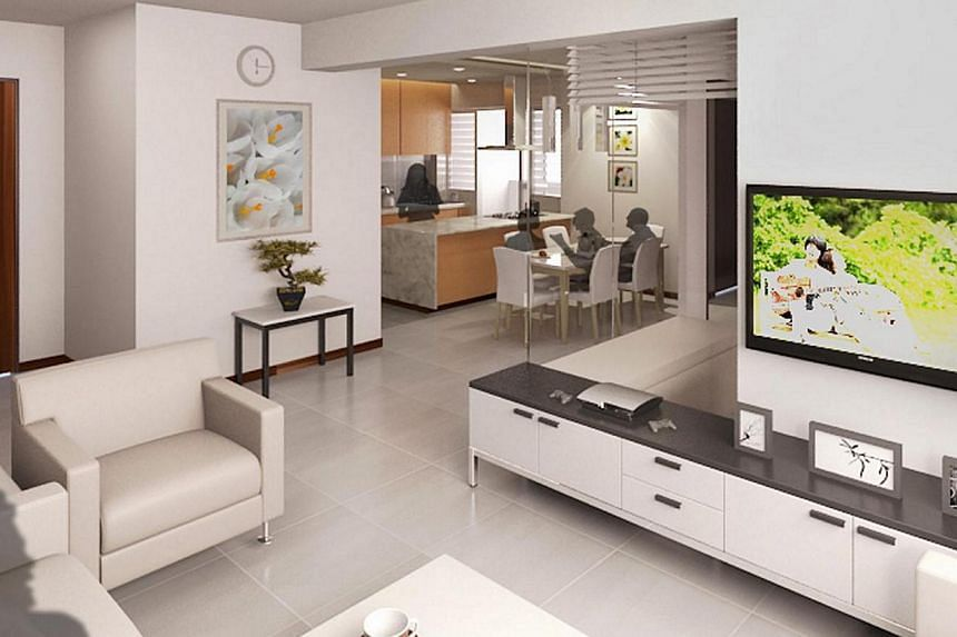 The layout of the living room for the new three-generation (3Gen) flat from the Housing Development Board (HDB). The HDB received 1,152 applications for 84 3Gen and 260 five-room flats in its latest Build-to-Order exercise, said National Development