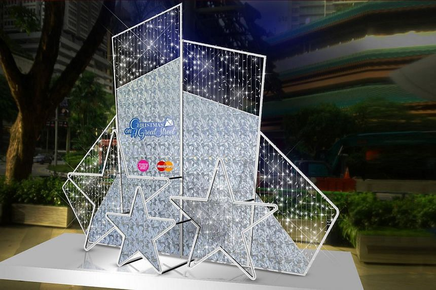 An artist's impression of a star-shaped structure that will be placed in front of Ion Orchard as part of Christmas decorations. Orchard Road's light-up will run from Nov 23, 2013 to Jan 5, 2014. -- PHOTO: ORCHARD ROAD BUSINESS ASSOCIATION