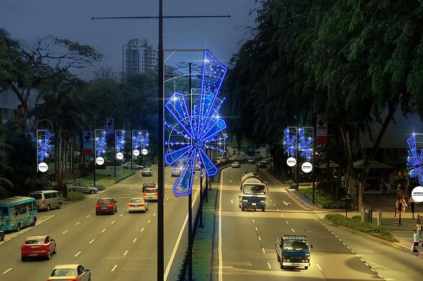 An artist's impression of the Christmas light-up along Scotts Road in 2013. Orchard Road's light-up will run from Nov 23, 2013 to Jan 5, 2014. -- PHOTO: ORCHARD ROAD BUSINESS ASSOCIATION