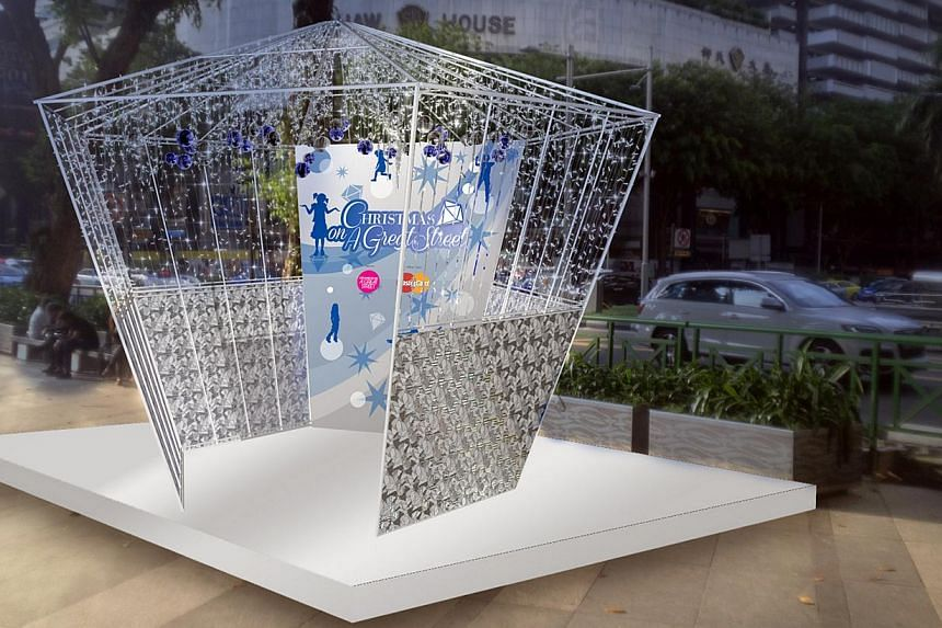 An artist's impression of a diamond-shaped structure that will be placed in front of Ion Orchard as part of Christmas decorations. Orchard Road's light-up will run from Nov 23, 2013 to Jan 5, 2014. -- PHOTO: ORCHARD ROAD BUSINESS ASSOCIATION