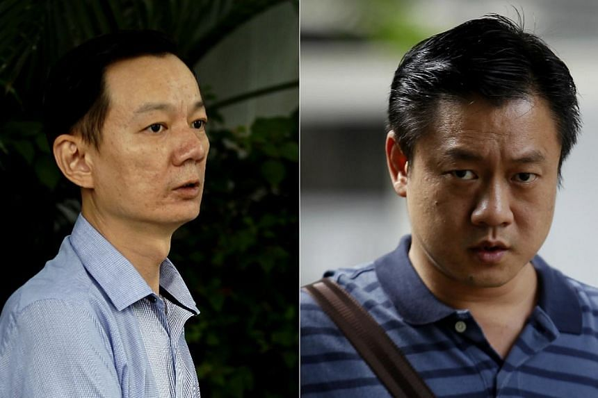 Chefs Goh Chee Kong (left) and Chan Tak Ming, who accepted bribes totalling some $14,000 from a seafood supplier, were fined $10,500 and $5,000 respectively in a district court on Thursday, Nov 14, 2013. -- ST PHOTOS: WONG KWAI CH