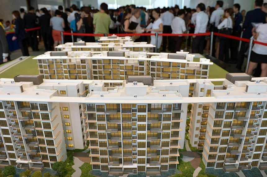 New home sales fell 19 per cent in October from September as developers waited for November to roll out major launches. -- ST FILE PHOTO: KUA CHEE SIONG
