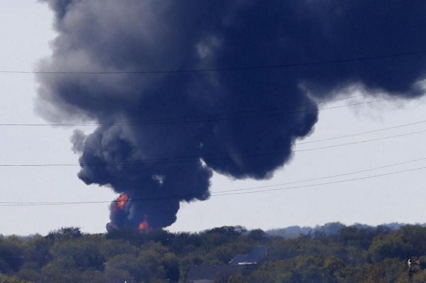 This photo shows a gas pipeline explosion in a field in Milford, Texas, on Thursday, Nov 14, 2013.The Texas town of Milford was evacuated after the explosion. There were no injuries. -- PHOTO: AP