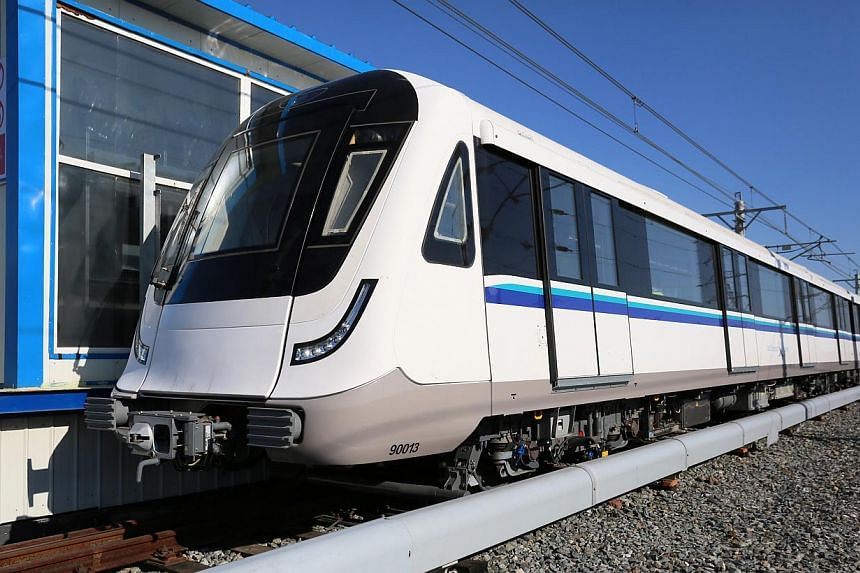 New trains for the Downtown Line are put through a stringent testing process to ensure they are safe and reliable for service, said the Land Transport Authority (LTA). -- PHOTO: ZAOBAO