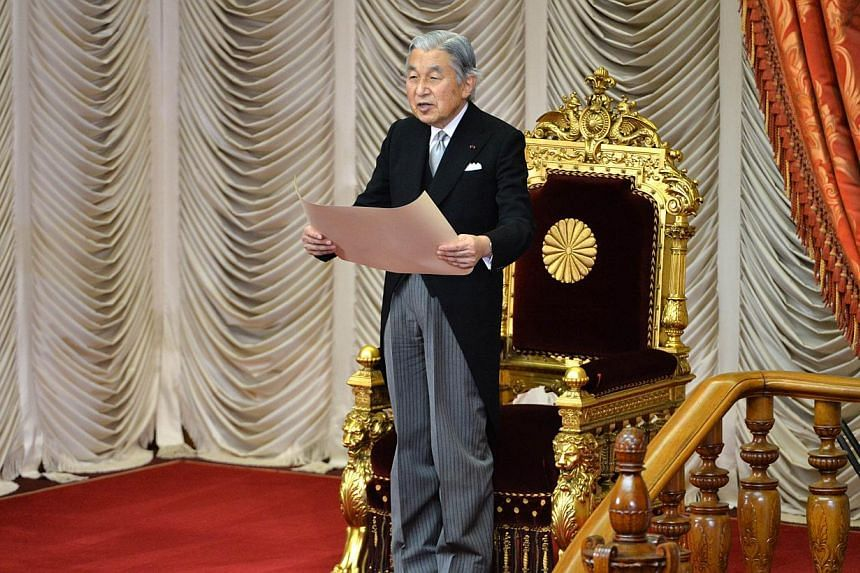 Japanese Emperor Akihito delivers a speech in Tokyo on Oct 15, 2013.Japan's Emperor Akihito will break with a centuries-old burial tradition by opting to be cremated like most ordinary citizens in the densely-populated nation, officials said on