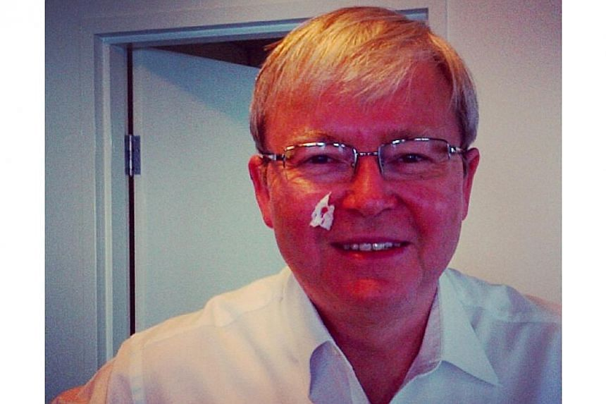 """Former Australian prime minister Kevin Rudd put this selfie on Instagram with the caption """"Note to self: when rushing out the door in the morning, make sure you take care with the razor. It is sharp. KRudd"""". -- PHOTO: INSTAGRAM OF KEVIN RUDD"""